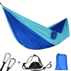 Ao ar livre portátil de acampamento pára-quedas dormir rede dupla jardim balanço hamac pendurado cadeira flyknit hamaca rede rede dc12