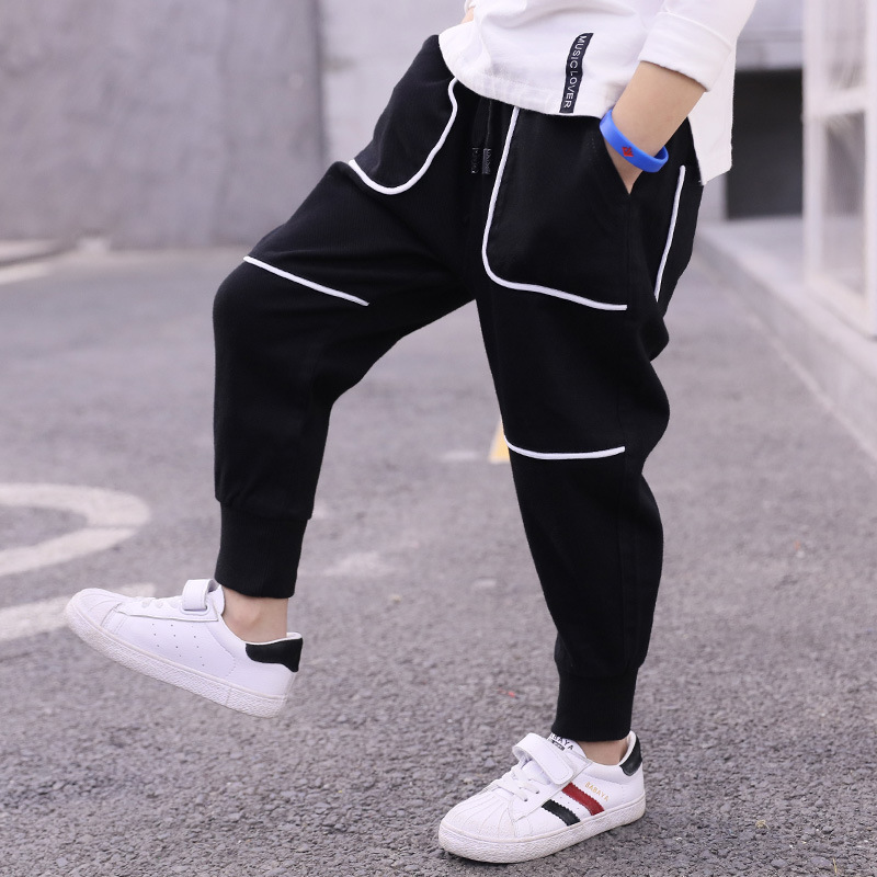 2019 Spring Boy Fashion Casual Loose Wild Cotton Trousers Kid Black Pants(China)