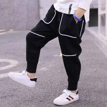 2019 Spring Boy Fashion Casual Loose Wild Cotton Trousers Kid Black Pants