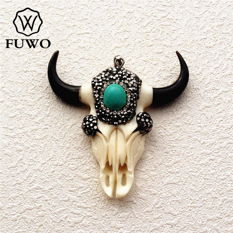 FUWO Carved Bone Steer Skull Pendant Fashion Ox Bone With Turquoises Charm For DIY Jewelry Necklace