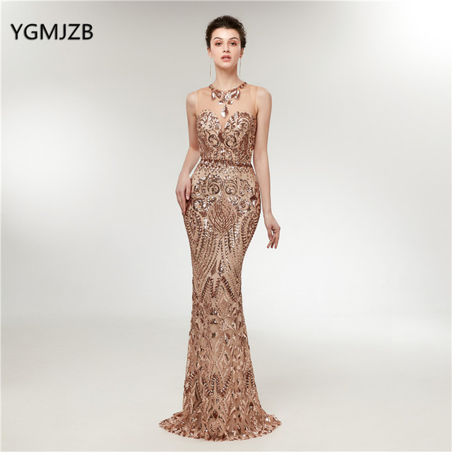 Elegant Long Evening Dress Mermaid 2018 New Glitter Sequined Champagne  Arabic Women Formal Party Gown Prom Dress Robe de Soiree f3e7645c5853