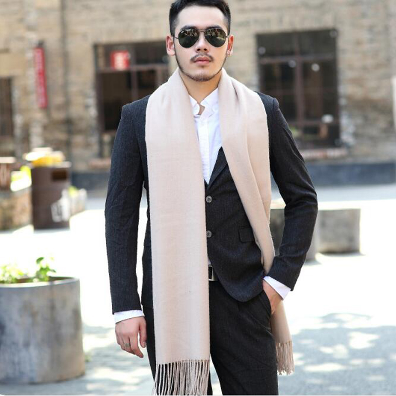200*70cm Men Solid Cashmere Thicken Shaw Cashmere Scarves With Tassel Man Winter Warm Scarf Male Outdoors Supplies