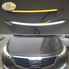 For Kia Sportage 2011-2015 , LED Headlight Brow Eyebrow Daytime Running Light DRL With Yellow Turn signal Light цена в Москве и Питере