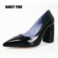 NANCY TINO 2017 New Women Pumps Shoes Square Heel Pointed Toe Super High Heeled Women S