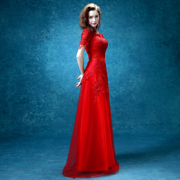 abf413366f 2015 Fashion Bride Red Lace Embroidery Short Sleeves A line Long Evening Dress  Sexy Prom Dress Mother Of The Bride Dresses-in Evening Dresses from  Weddings ...