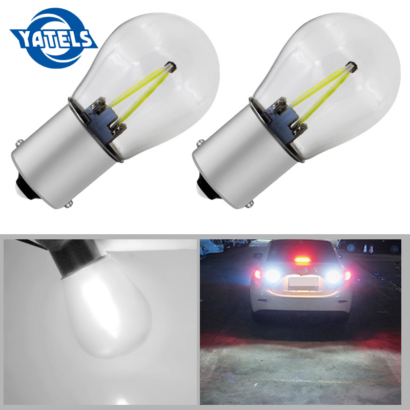 2x 1156 Led P21w LED 1157 Bulbs Ba15s Lamp Bay15d Light COB Car Lights DRL 12V 6000K White DRL Reverse Turn Signal 650LM 1piece no polarity 10 30v p21w 12w cob chips led 1156 382 ba15s canbus alta potencia drl luz reversa reino unido 720lm