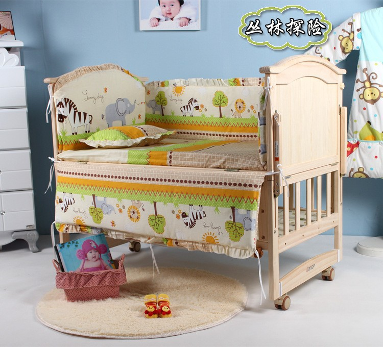 Фото Promotion! 6PCS Baby bedding sets 100% cotton baby bedclothes Cartoon crib bedding set (3bumper+matress+pillow+duvet). Купить в РФ