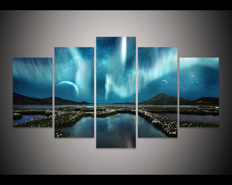 5 Pcs Aurora Borealis Painting Modern Decor Canvas Print Wall Art Picture PT0551