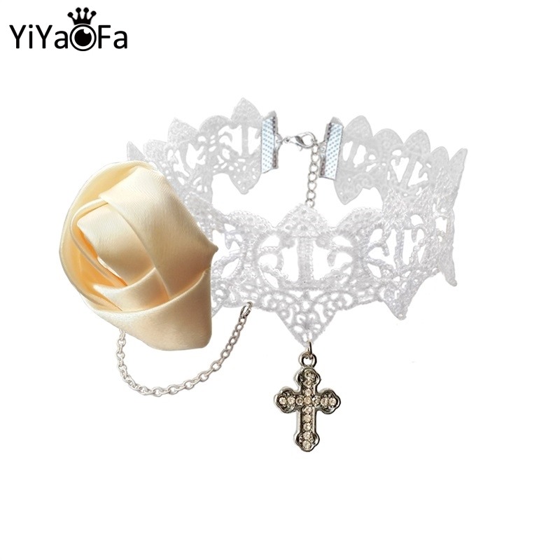 YiYaoFa Vintage White Necklace & Cross Pendant Choker Necklace for Women Accessories Gothic Lady Party Jewelry Collar GN-68