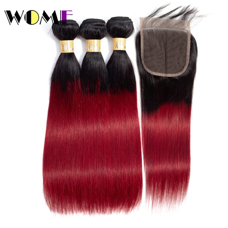 Wome Pre-colored 1b/bug 3 Burgundy Bundles With Closure Indian Straight Ombre Human Red Hair Bundles With Straight Closure