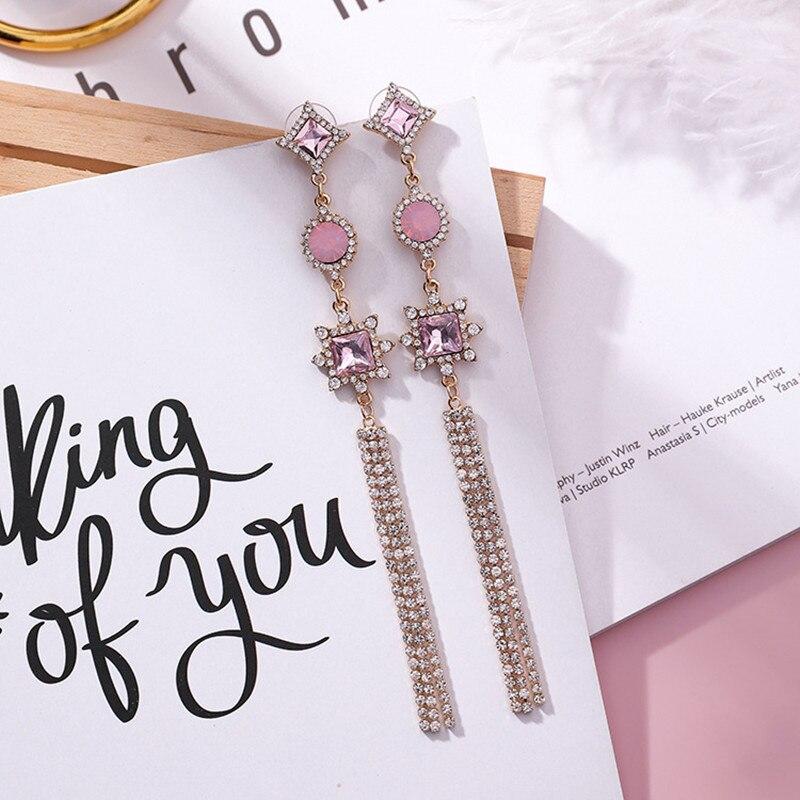 New Fashion Luxury Pink Shiny Rhinestone Long Bowknot Tassel Drop Earrings Korean Baroque Style Women Pendientes Jewelry in Drop Earrings from Jewelry Accessories
