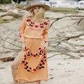 2016 mulheres maxi dress branco em torno do pescoço longo da luva do vintage sexy praia floral bordados dividir dress roupas femininas