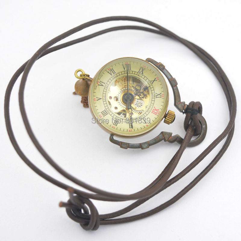 See Through Bronze Tone Crystal Ball Design Hand Wind Mechanical Pocket Watch +Leather Chain Nice Gift Wholesale Price H033
