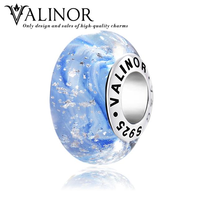 Estrellas rodean el galaxy glass beads charms plata de ley 925 pulseras de joyería de las mujeres de moda gcll030
