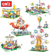 QWZ Friends Series Building Blocks Compatible Legoings The City Park Cafe Pirate Ship Ferris Wheel Girl Bricks Toys Kids Gifts(China)