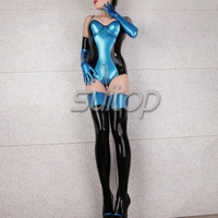 adult latex bodysuit catsuit with latex stocking and glove real photo