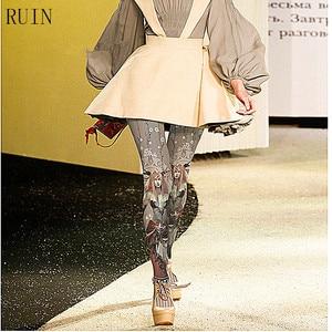 Image 1 - RUIN ผู้หญิง tights การ์ตูนอะนิเมะแม่มดพิมพ์ pantyhose หญิงสาว tights