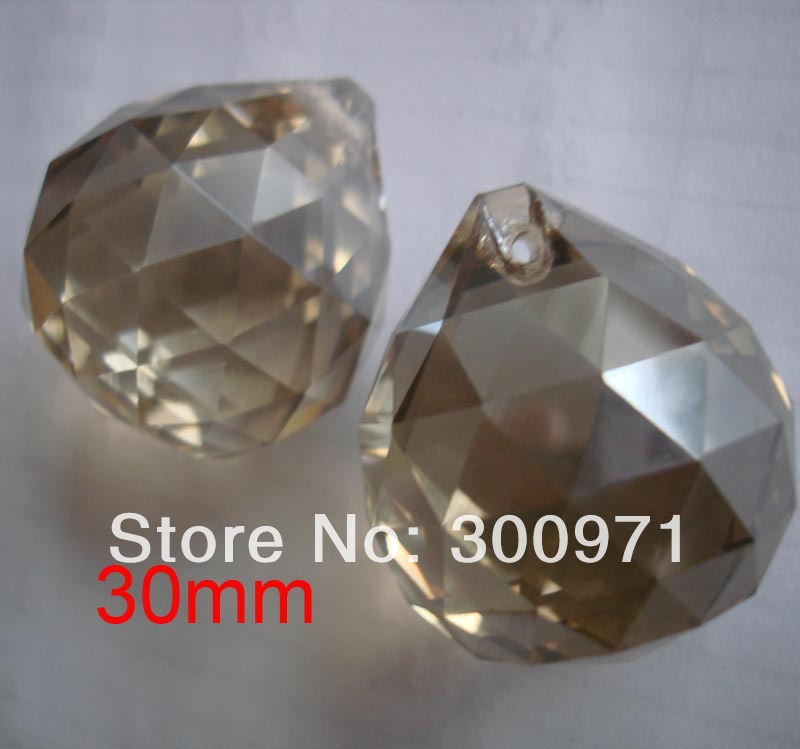 Free shipping 100pcs/lot , 30mm crystal lighting ball , cognac color crystal curtain pendant of crystal chandelier ball