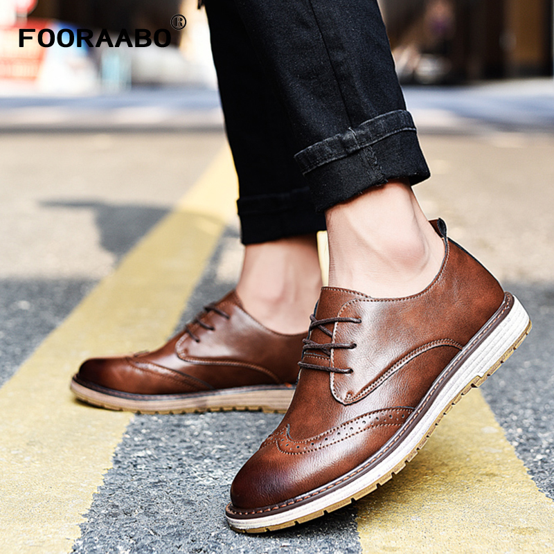 FOORAABO Mens Fashion Brogue Shoes Carved Lace Spell Color Dress Shoes Men's Business Casual Shoes Male Shoes Oxford