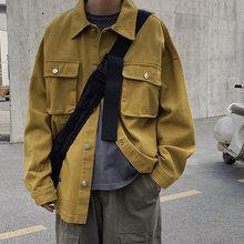 Autumn New Tooling Jacket Men Fashion Solid Color Casual Multi-pocket