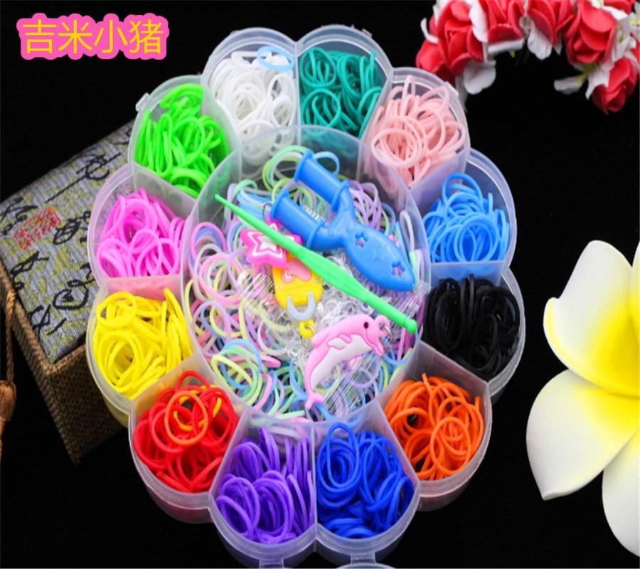 800pcs 12color Loom Bands Toys For Children Girl Gift DIY Elastic Rubber Band For Weaving Lacing Bracelets Kid Toy Set 2019 New