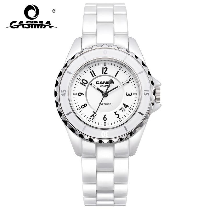Luxury Brand Women Watches Fashion Casual Elegant Ceramic White Quartz Wrist Watch Women Waterproof 100m CASIMA