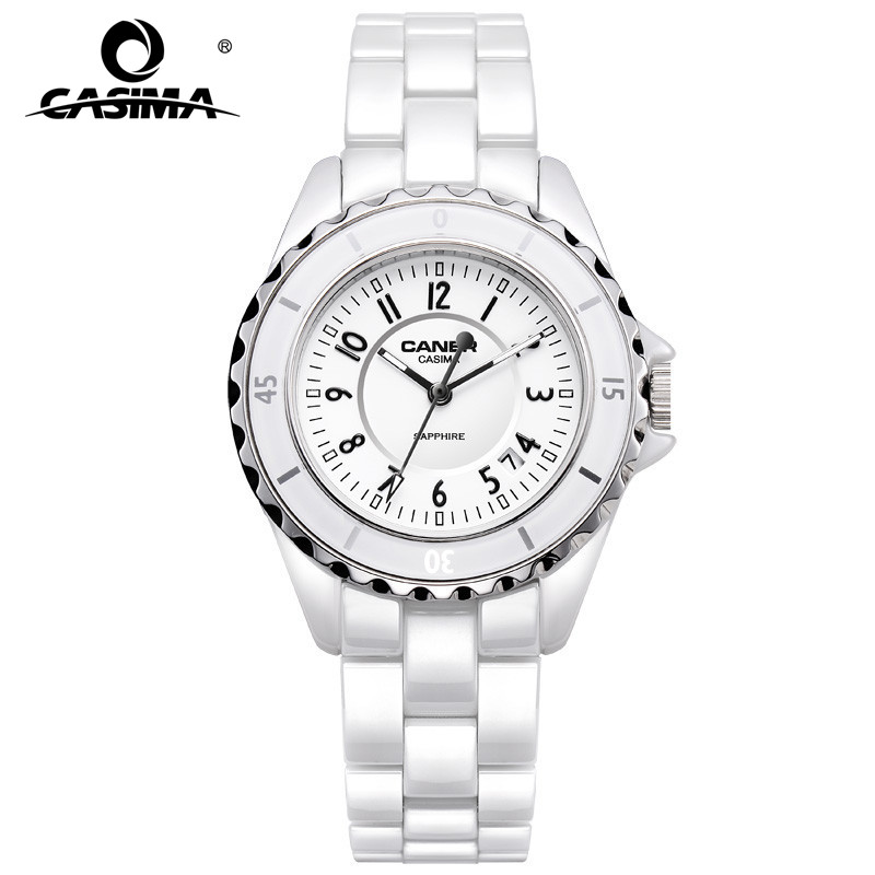 Luxury Brand Women Watches Fashion Casual Elegant Ceramic White Quartz Wrist Watch Women Waterproof 100m CASIMA #6702 elegant ceramic quartz wrist watch for female white silver 1 x 377