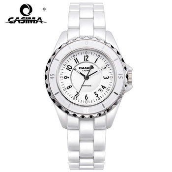 цена на Luxury Brand Women Watches Fashion Casual Elegant Ceramic White Quartz Wrist Watch Women Waterproof 100m CASIMA #6702