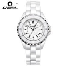 Люксовый бренд Для женщин часы 2016 мода повседневная элегантная керамическая белая кварцевые наручные часы Для женщин Водонепроницаемый 100 м CASIMA #6702