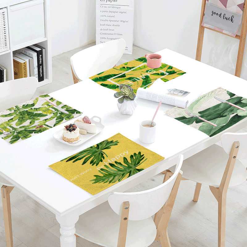 Nordic Style Green Plants Printed Pattern Table Mat Animal Table Napkins Placemat Kitchen Decor Dining Eatting Table 42x32cm