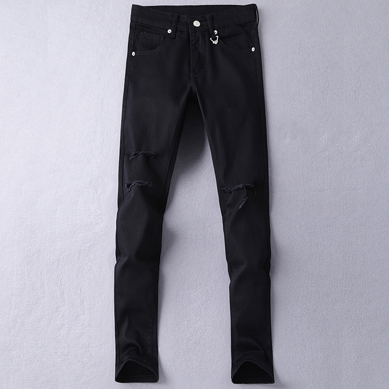 Jeans Men's Black White High Quality Hole Brand Youth Pop Male Fashion Denim Cotton Casual Trousers Slim Fit Pants Gent Life jeans men s blue slim fit fashion denim pencil pant high quality hole brand youth pop male cotton casual trousers pant gent life