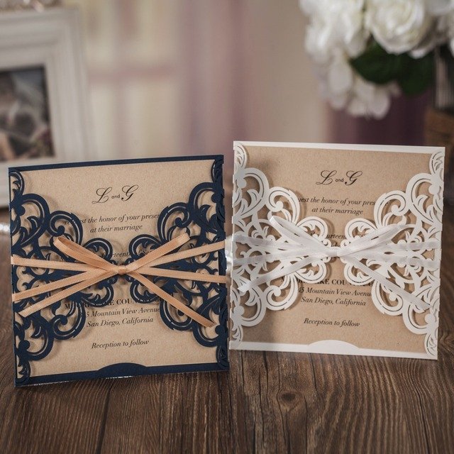 50PCS Laser Cut Wedding Invitation Cards With Square Lace And Bow Paper Cardstock For Marriage Birthday
