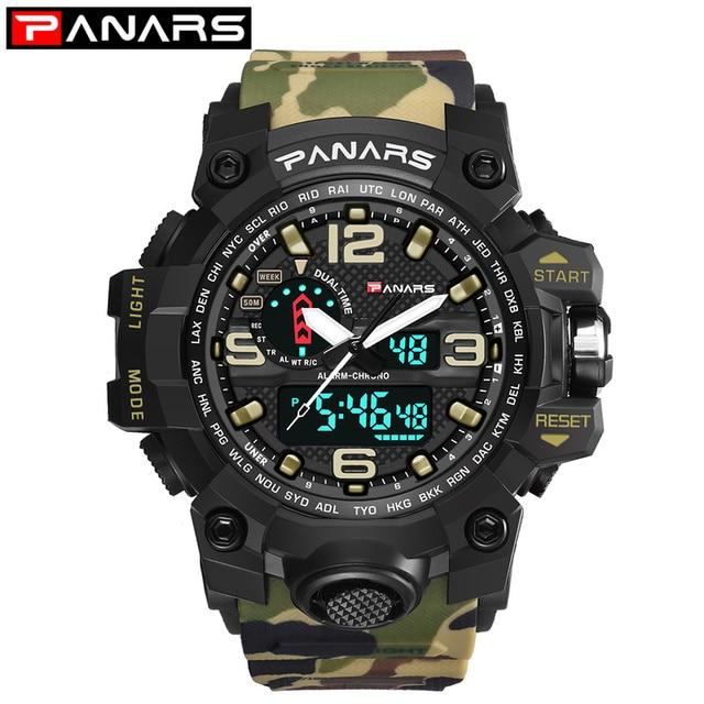 77db3afd889 Homens Relógio Militar 50 m relógio de Pulso À Prova D  Água LED Relógio de
