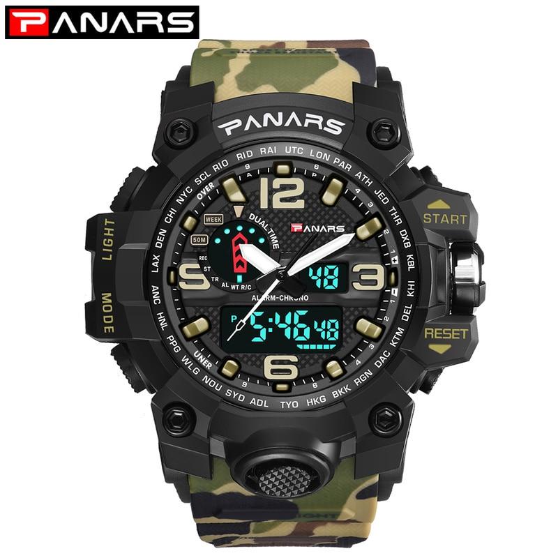 Billede af Men Military Watch 50m Waterproof Wristwatch LED Quartz Clock Sport Watch Male relogios masculino Sport S Shock Watch Men