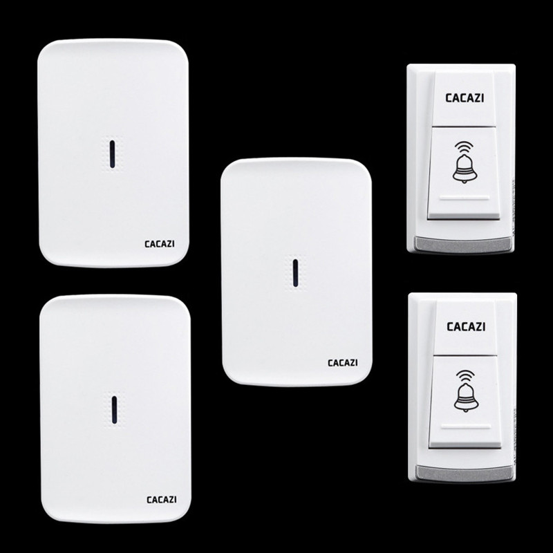 Wireless home electronic elderly DC battery pager move freely waterproof doorbell 2 transmitter+3 receivers wireless door bell 2 receivers 60 buzzers wireless restaurant buzzer caller table call calling button waiter pager system