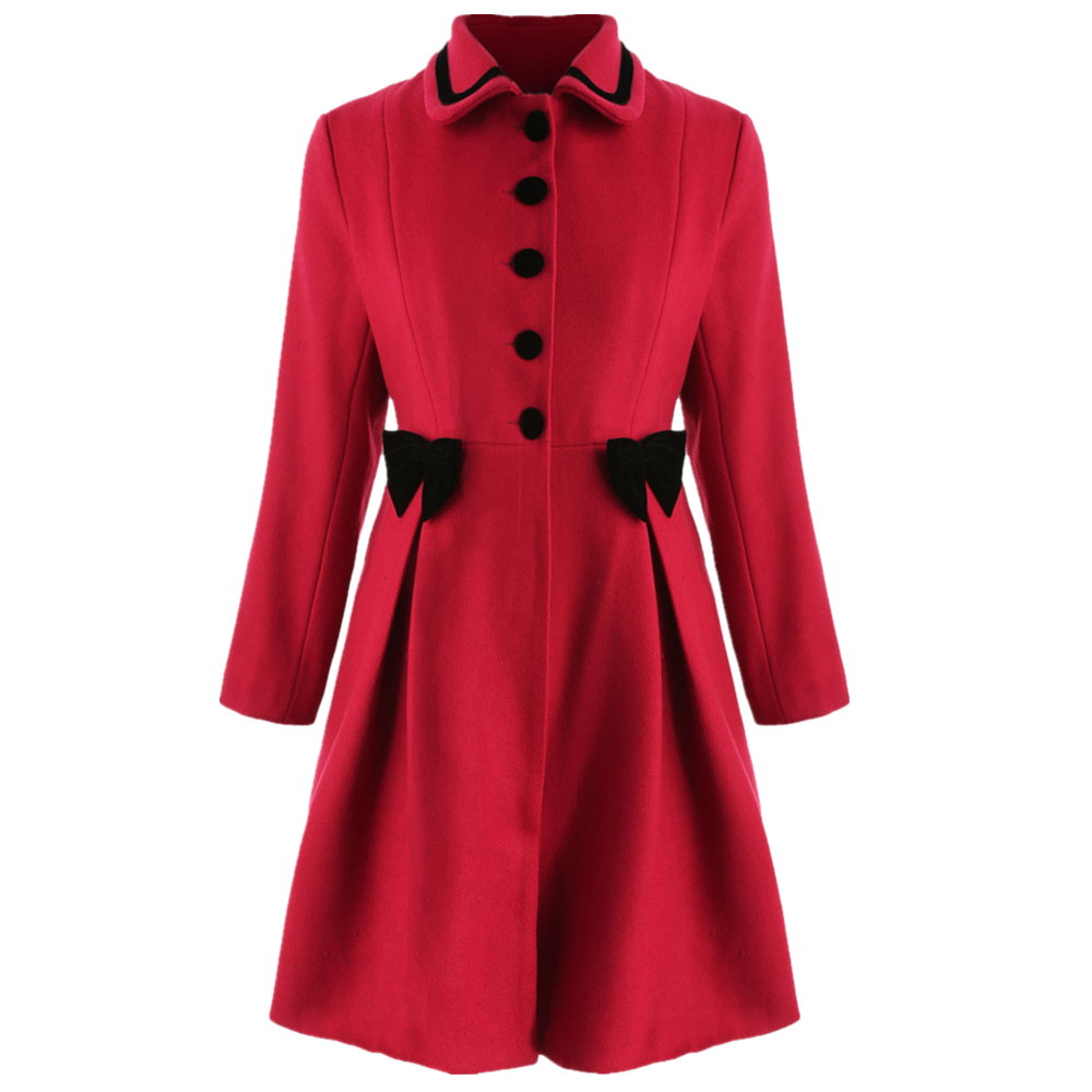 Joineles Plus Size Bowknot Embellished Longline Coat Turn Down Collar Single Breasted Vintage Female Wool Blends