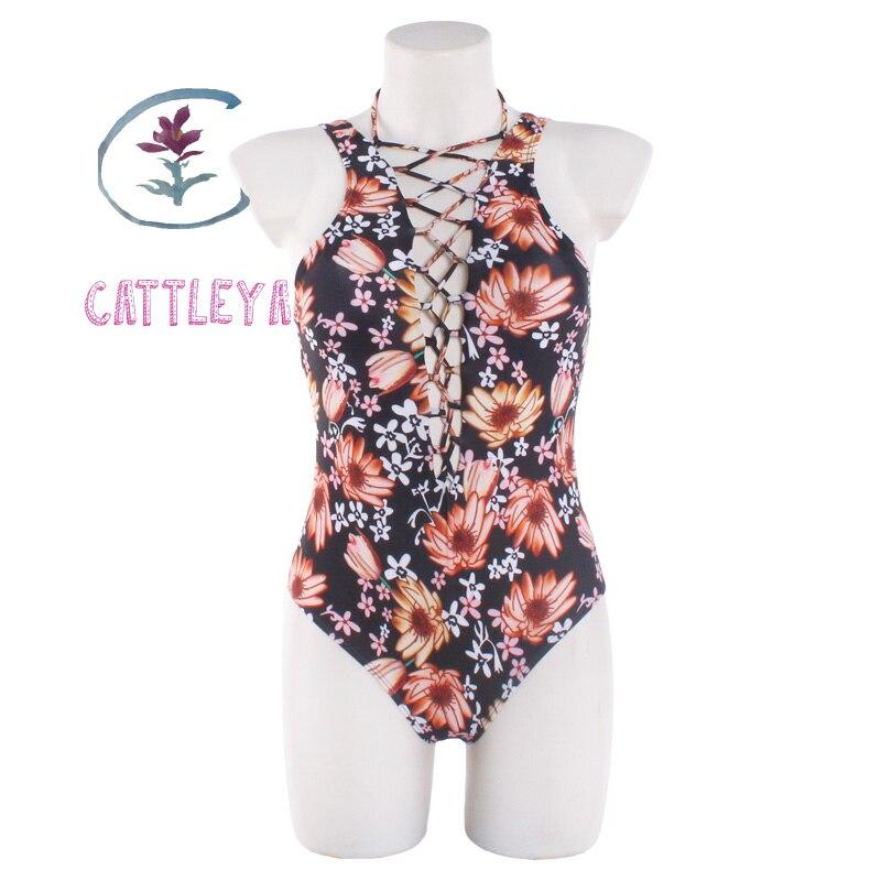 CATTLEYA Brand 2017 Floral Print One Piece Swimsuit Swimwear Women Sexy Monokini Deep V Swim Suit Maillot De Bain Femme CQ 17001