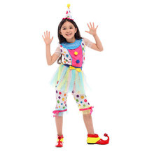 Child Kids Kaleidoscope Polka Dot Rainbow Clown Costume for Girls Fancy Dress Halloween Purim Carnival Party Costumes