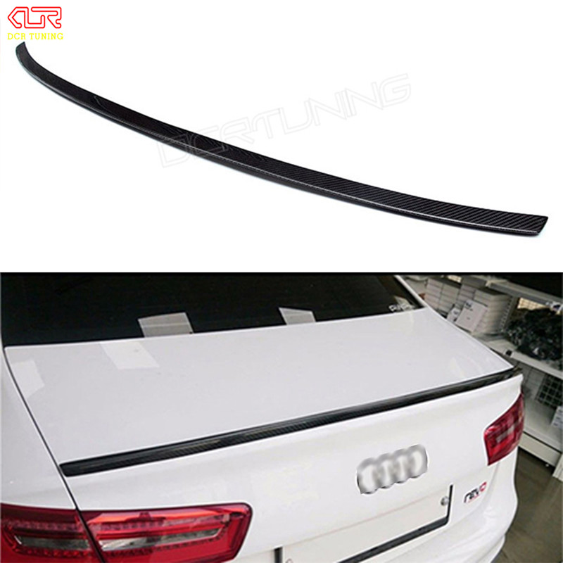 C7 A6 Spoiler S6 Style Carbon Fiber Spoiler Rear Trunk Wing For Audi A6 C7 / 4G 2012 - UP Fit 4-Door Sedan Only c180 c200 c220 c250 c300 replacement part for mercedes c class w205 c63 style carbon fiber rear spoiler wing 2015 benz spoiler
