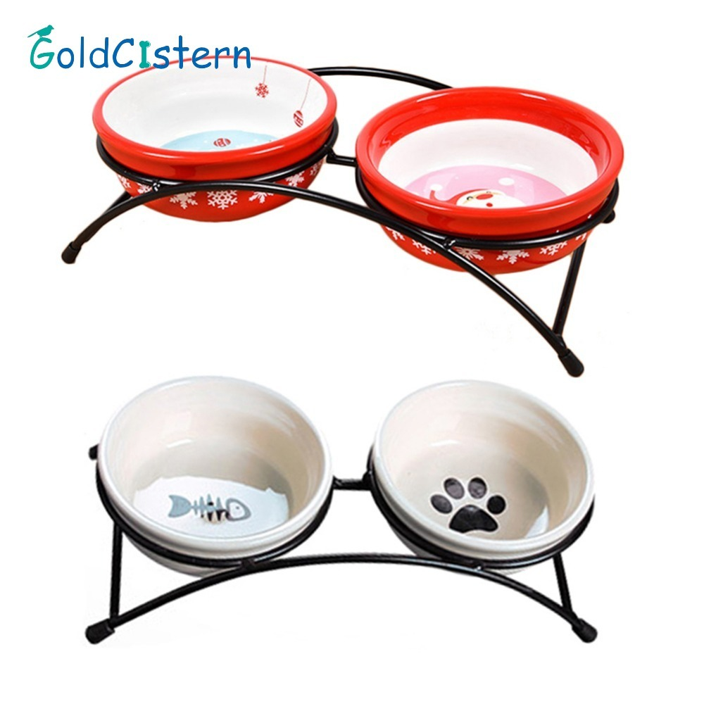Double Ceramics Dog Cat Puppy Pet Bowl Fish Paw Santa Print Food Dish Non Slip Food Water Dual-use Feeding Dish Pet Supplies