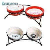 Double Ceramics Dog Cat Puppy Pet Bowl Fish Paw Santa Print Food Dish Non Slip Food Water Dual use Feeding Dish Pet Supplies