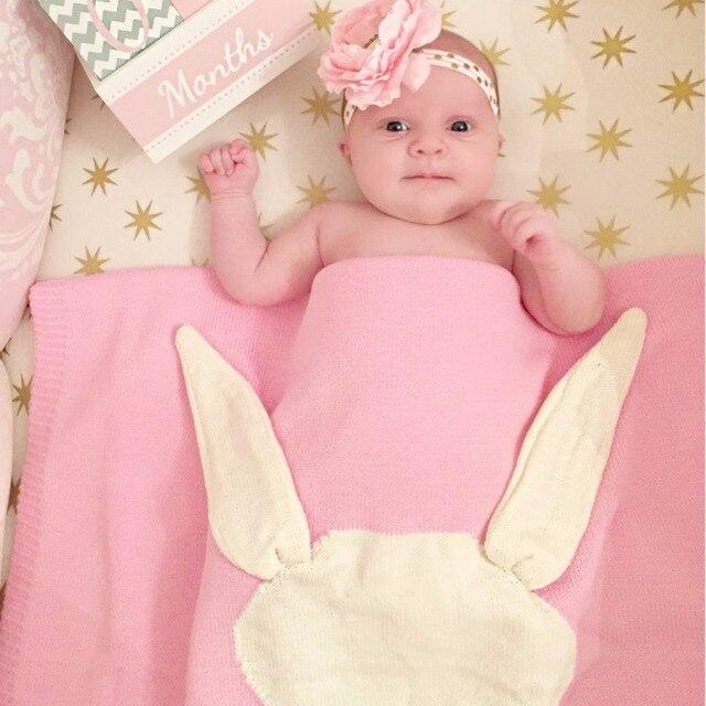 aa24a4503 Gray Pink Baby Blankets Rabbit Crochet Newborn Blanket Kids ...