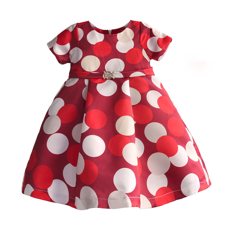 Baby Girls Dress Polka Dot Printed Children Girls Dresses Rhinestones Belt Kids Clothes Party Birthday robe fille enfant 3-8Y ladybird appliques dress wholesale clothing for girls princess baby boutique o neck clothes children polka dot dresses 6pcs lot