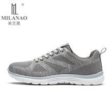 2016 MILANAO New Summer Sports Flyknit Racer Running font b Shoes b font For Men font