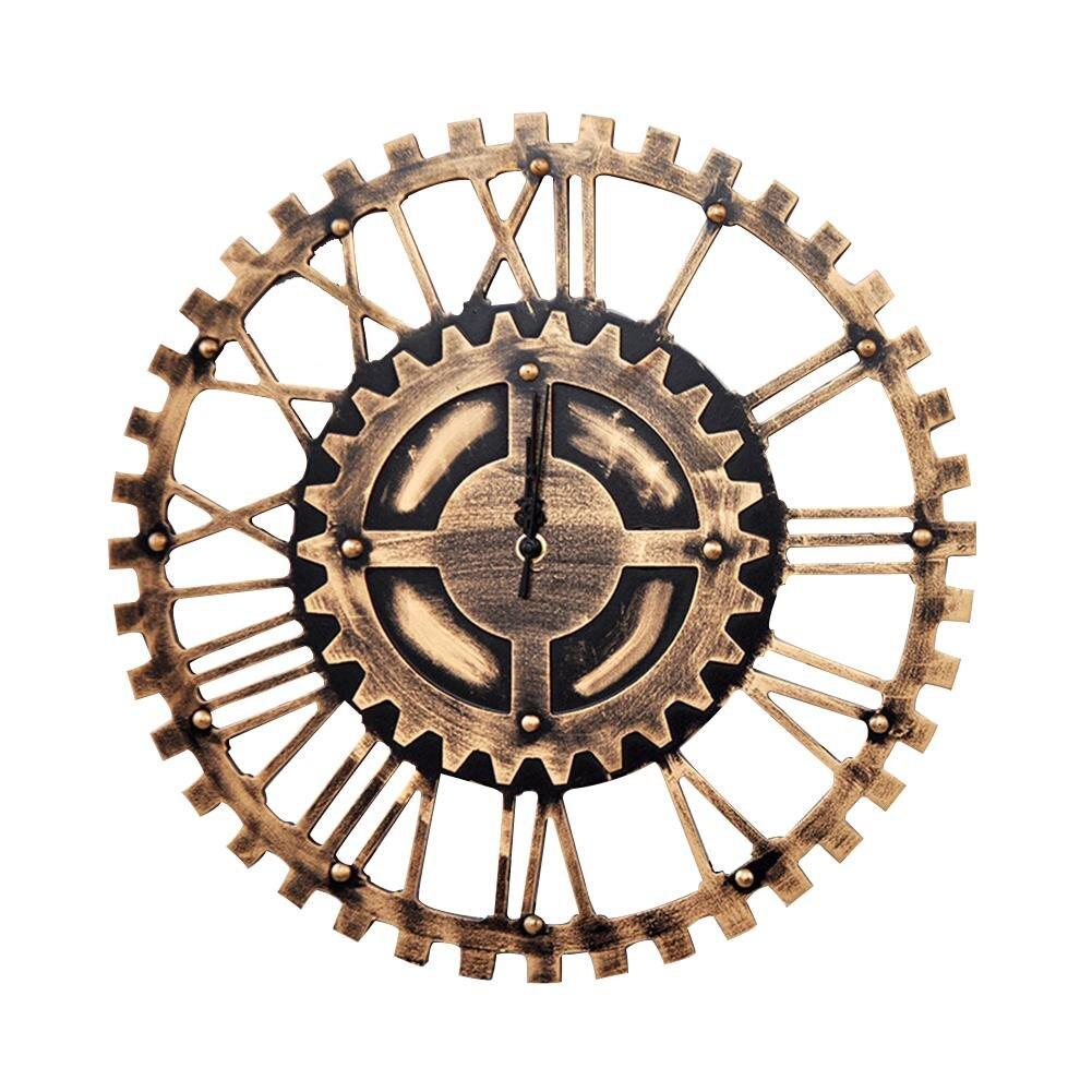 Handmade 3d Large Gear Wall Clock Wooden Retro Rustic