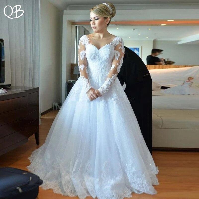 Fait sur mesure 2019 nouvelle mode A-ligne à manches longues Tulle Dentelle Perles Perles Formelle Élégante robes de mariage Robes De Mariée XL15