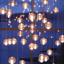 Nordic G4 LED  Meteor Pendant Lights Crystal Glass Ball Lamp Lighting Personality Staircase Hanging Kitchen Fixture