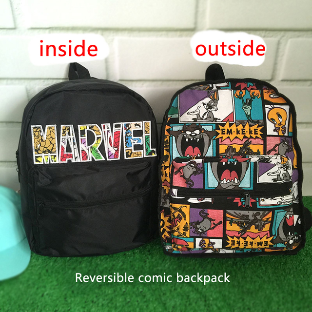 077fe41503 Cartoon Reversible Backpacks Unique Waterproof Canvas Travel Backpack 3D  Comic Printing School Bag for Teenage Girls