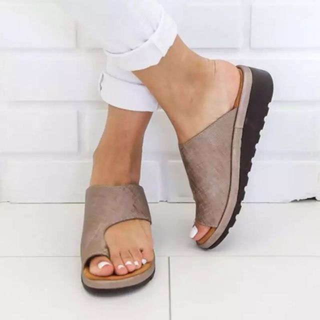 cad8107a75 US $13.99 |Women PU Leather Shoes Comfy Platform Flat Sole Ladies Casual  Soft Big Toe Foot Correction Sandal Orthopedic Bunion Corrector-in Low  Heels ...