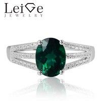 Лейдж Jewelry лаборатория создана в изумрудно кольца могут камень овальным вырезом Обручение кольца романтические подарки для женщин 925 сереб